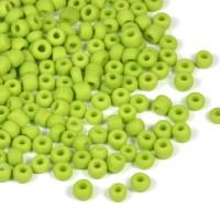 6/0 Seed beads, frostad ljusgrön, 4mm