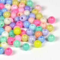 Akrylpärlor pastellmix, 6mm