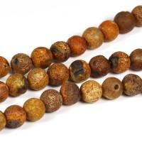 Agat pärlor, kamelbrun, 6mm