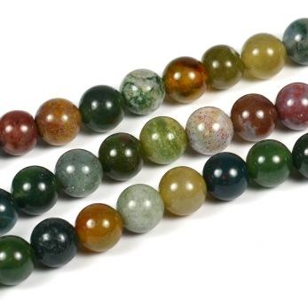 Indian agat pärlor, grön-mix, 6mm