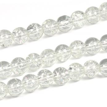 Krackelerade glaspärlor, klar, 6mm