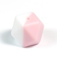 Kantig silikonpärla, 18mm, vit-puderrosa