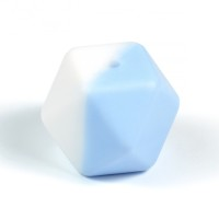 Kantig silikonpärla, 18mm, vit-ljusblå
