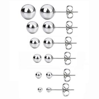Örhängen i rostfritt stål, kula 3–8mm, 1 par