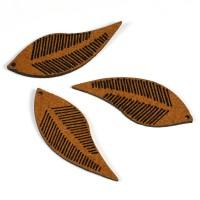 Berlock i fuskmocka, löv, brun, 16x44mm, 10st