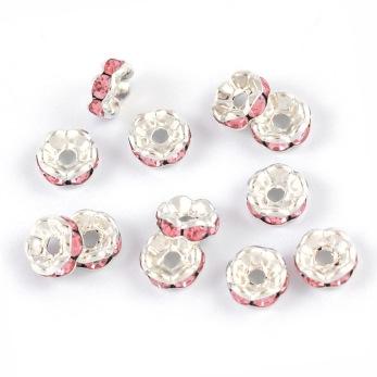 Eleganta rondeller med strass, silver-ljusrosa, 6mm