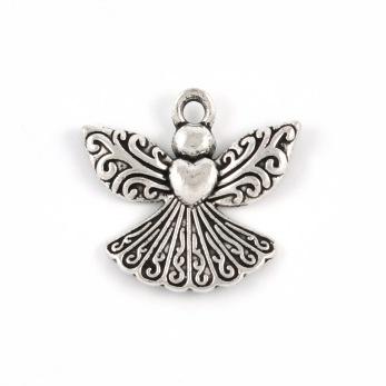 Berlock, ängel med hjärta, 23x22mm, 5st