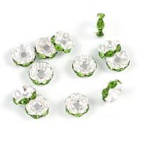 Eleganta rondeller med strass, silver-ljusgrön, 6mm