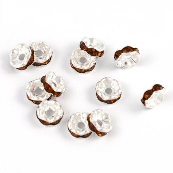 Eleganta rondeller med strass, silver-kaffe, 6mm
