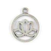 Rund berlock, lotus, antiksilver, 20mm, 5st