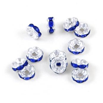 Eleganta rondeller med strass, silver-marinblå, 6mm