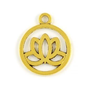 Rund berlock, lotus, guld, 20mm, 5st