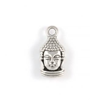 Berlock, Buddha huvud, antiksilver, 8x16mm, 10st