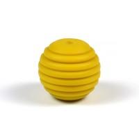 Räfflad silikonpärla 15mm, senapsgul