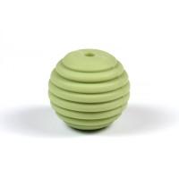 Räfflad silikonpärla 15mm, pistagegrön