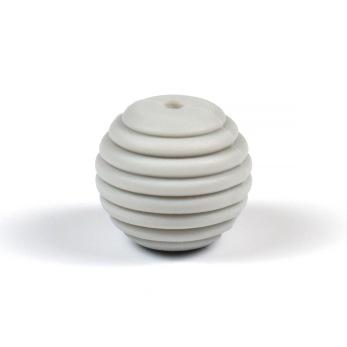Räfflad silikonpärla 15mm, ljusgrå