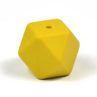 Kantig silikonpärla, 18mm, senapsgul