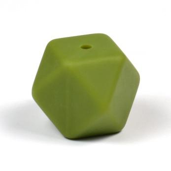 Kantig silikonpärla, 18mm, olivgrön