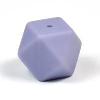 Kantig silikonpärla, 18mm, duvblå
