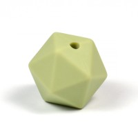 Kantig silikonpärla, 16mm, pistagegrön