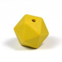 Kantig silikonpärla, 16mm, senapsgul