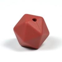 Kantig silikonpärla, 16mm, tegelröd