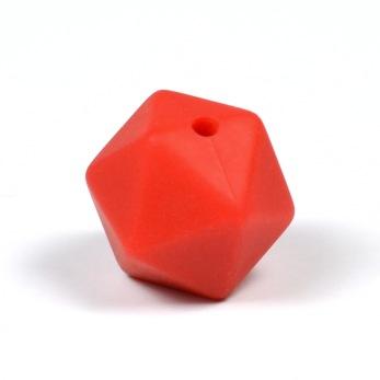 Kantig silikonpärla, 16mm, röd