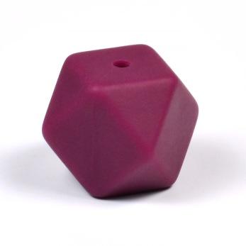Kantig silikonpärla, 18mm, vinröd