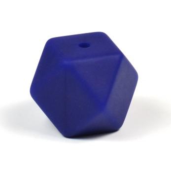 Kantig silikonpärla, 18mm, midnattsblå
