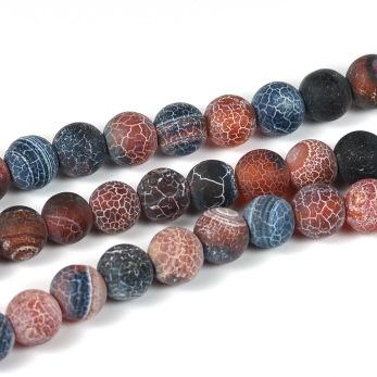 Frostade och kristalliserade agat pärlor, mörkchoklad, 6mm