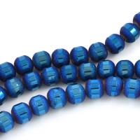 Elektropläterade glaspärlor blank/frostad, blå, 6mm