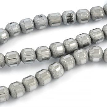Elektropläterade glaspärlor blank/frostad, silver, 6mm