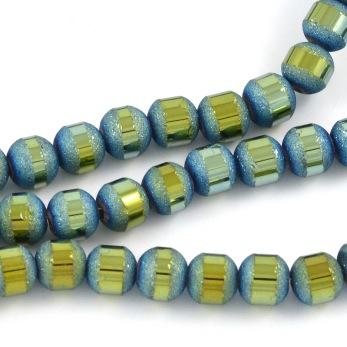 Elektropläterade glaspärlor blank/frostad, ljusblå-grön, 6mm