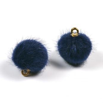 Liten fusk pälsboll, marinblå, 2st