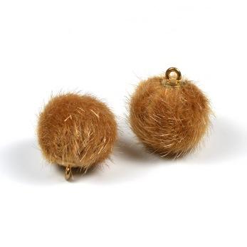 Liten fusk pälsboll, kamelbrun, 2st