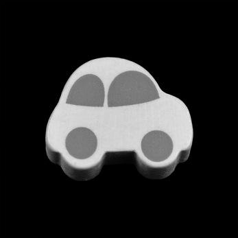 Motivpärla bil, vit - vit-grå