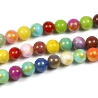 Jade pärlor, mixade färger med guldstoft, 6mm