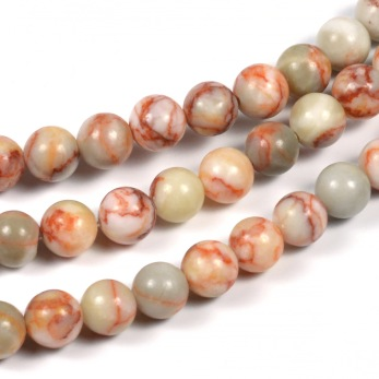 Netstone pärlor, röd, 6mm