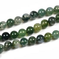 Mossagat pärlor, mörkgrön, 6mm