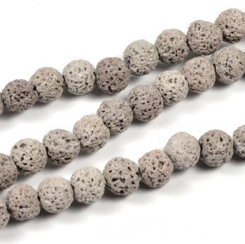 Lava pärlor, ljusgrå, 6mm