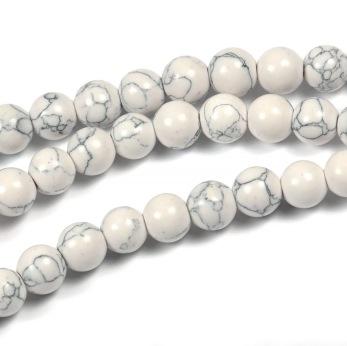 Pärlor i syntetisk turkos, vit, 6mm