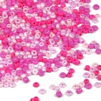 12/0 Seed Beads, rosa-mix, 2mm