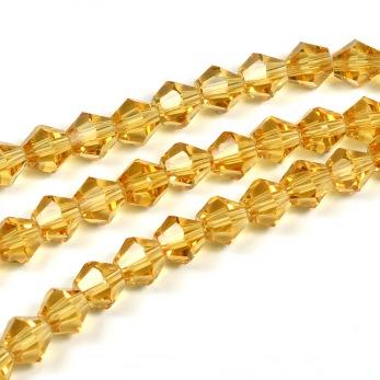 Bicone glaspärlor, guld, 6mm