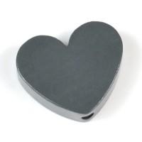 Motivpärla hjärta, mörkgrå