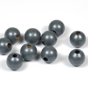 Träpärlor, pärlemor-mörkgrå, 10mm