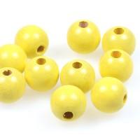 Träpärlor pastellgul, 15mm