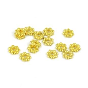 Mellandelar, daisy, guld, 6mm