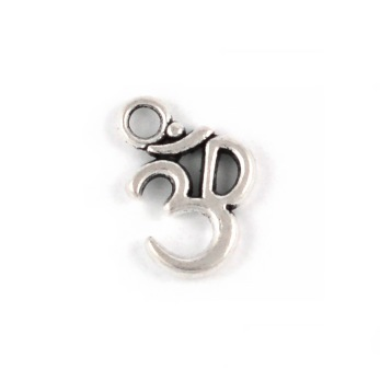 Berlock, Ohm, antiksilver, 12mm, 5st