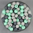 Räfflade träpärlor mint, 14mm