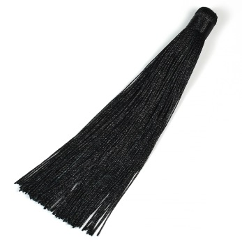 Lång tofs i polyester, 125mm, svart